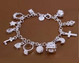 Free-Shipping-925-silver-bracelet-fashion-jewelry-charm-bracelet-13-Pendants-Bracelet-H145
